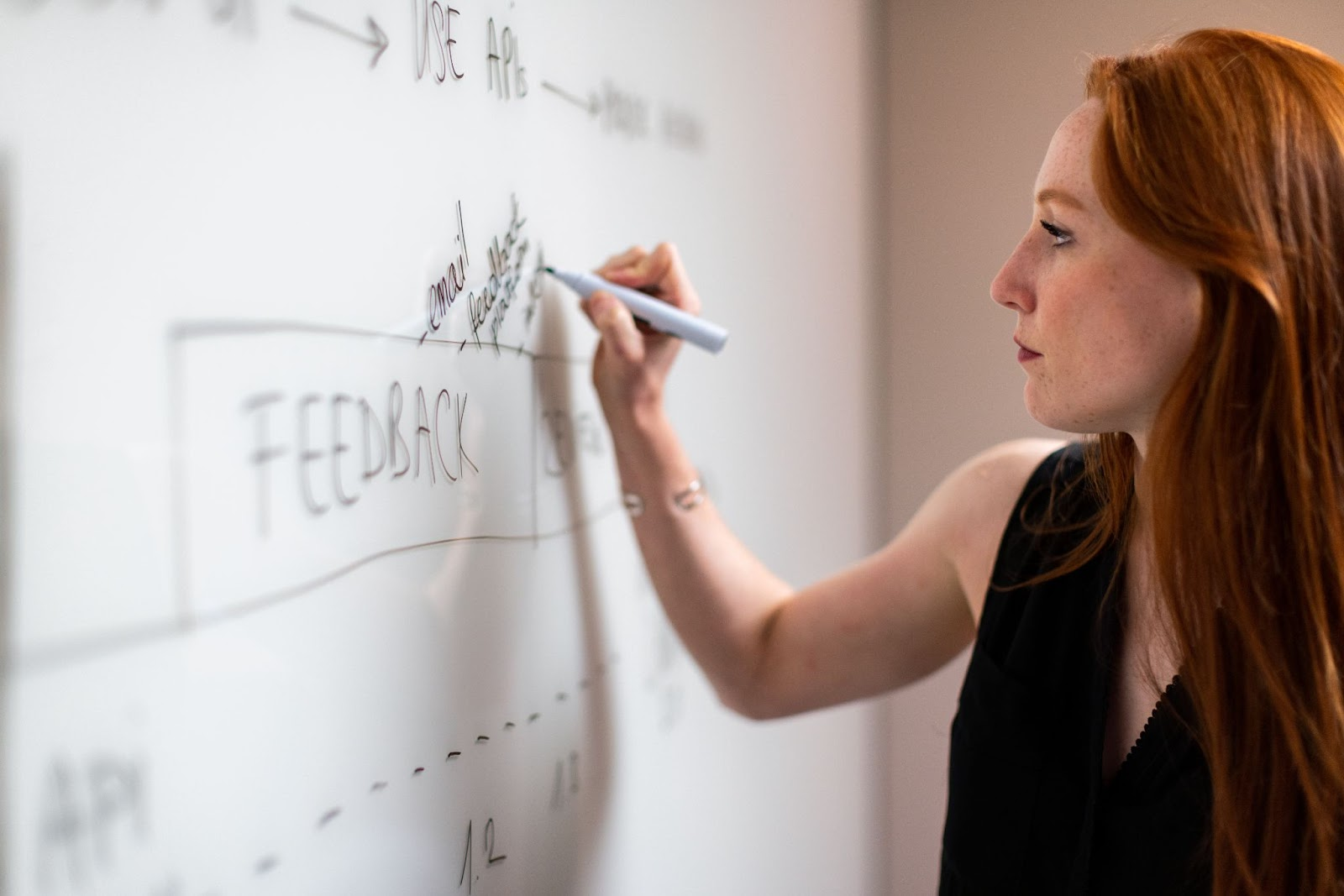 a woman gives feedback