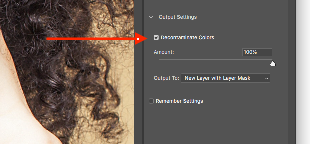 Decontaminate colors option indicated with red arrow in Photoshop
