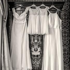 Bridesmaid's Dresses by Jamie Ledwith - Wedding Details ( dress, sepia, bridesmaids, wedding photography, weddings, monochrome, dresses, monochromatic, wedding, donnington grove )