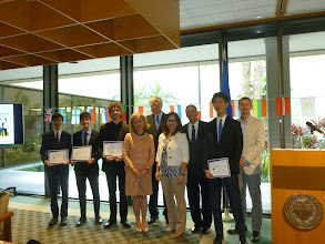 Photo: Euro Challenge Competition 2016 Recognition & Awards Ceremomy Federal Reserve Bank of Atlanta - Miami Branch - April 1st, 2016  Recognition of Miami Palmetto Senior High School by  María Jesús de Gonzalo Gámar,  Gloria Guzman, and Dr. Volker Anding