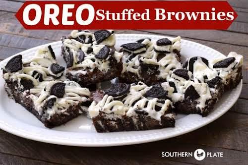 "Oreo Stuffed Brownies""Rich, fudgey brownies studded with chunks of Oreo cookies!"" -..."