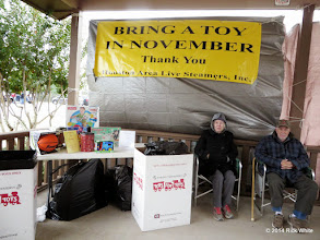 Photo: The Toys for Tots collection station with organizer Letha Grace McCoy and Gary McCoy    HALS Public Run Day 2014-1115 RPW