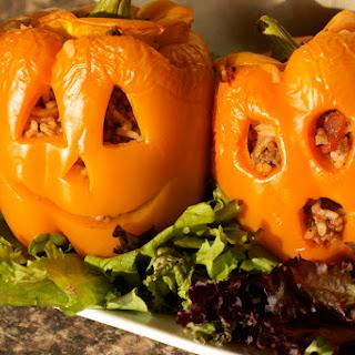 Halloween Jack-o'-lantern Stuffed Peppers