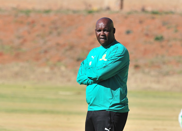 Mamelodi Sundowns head coach Pitso Mosimane looks on during a press conference and media day at their training base in Chloorkop ahead of the Caf Champions League home match against AS Togo-Port from Togo at the Lucas Moripe Stadium in Atterdgeville on Friday July 28 2018.