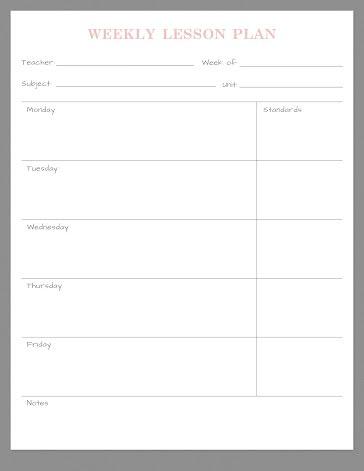 Light Lessons - Planner template