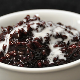 Black Glutinous Rice Pudding with Coconut Milk Drizzles