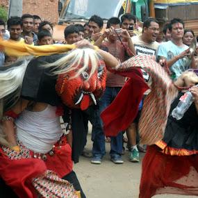 Laakhay  by Ganesh Shahi - News & Events Entertainment ( gaijatra, kalinchowk, laakhay nepal lakhay gaijatra gai jatra, laakhay, jiri, lakhay, charikot, dolakha, nepal )