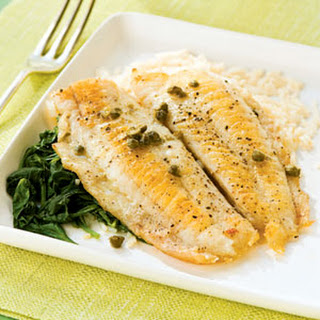 Flounder Piccata with Spinach.