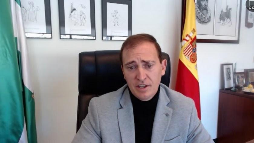 Antonio Jiménez, en la comparecencia telemática.