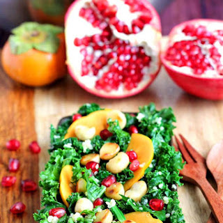 Persimmon, Pomegranate, Massaged Kale salad.