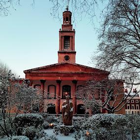 Henry Wood Hall by Andy Pitt - City,  Street & Park  City Parks ( sunrise, london, public park, snow, morning )