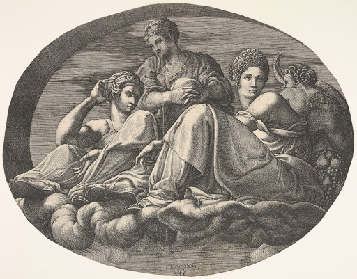 Juno and two goddesses reclining on clouds with two child figures and fruits at right, an oval composition, from a series of eight compositions after Francesco Primaticcio's designs for the ceiling of the Ulysses Gallery (destroyed 1738-39) at Fontainebleau