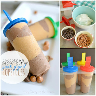 Chocolate and Peanut Butter Greek Yogurt Popsicles.
