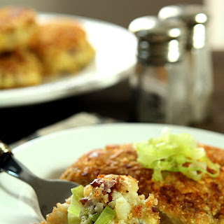 Leek, Bacon, Garlic and Thyme Smashed Potato Cakes