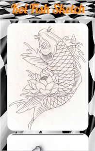 Sketsa Ikan Koi Detail
