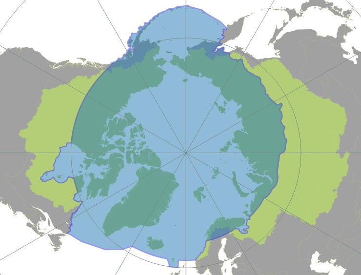 AMAP area (light blue) and area covered by the Arctic Ocean Drainage Basins following the AAR (All Arctic Regions) definition proposed by Shiklomanov et al, 2000 (light green)