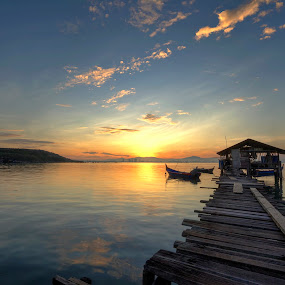 Morning Penang by Zul Murky - Landscapes Sunsets & Sunrises ( sunrises, nature, penang, seascape, beach, fisherman, landscape )