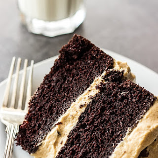 Chocolate Layer Cake with Creamy Peanut Butter Frosting.