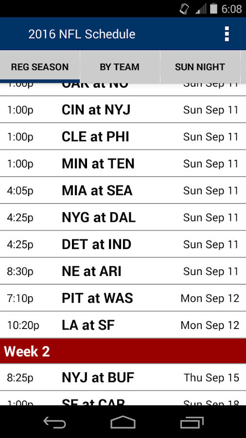 2018 Football Schedule Nfl Apps On Google Play