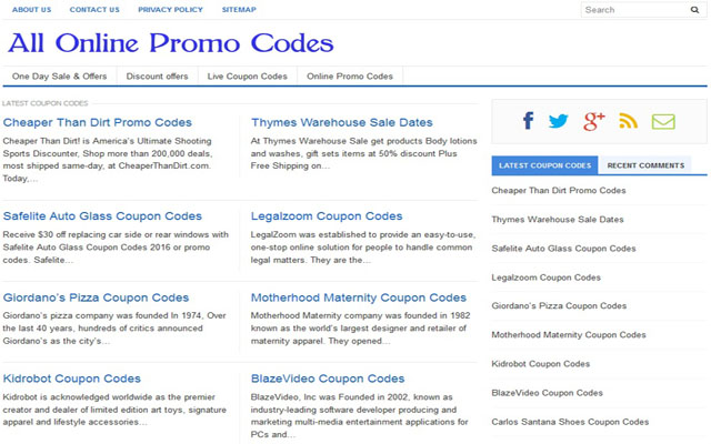 All Online Promo Codes