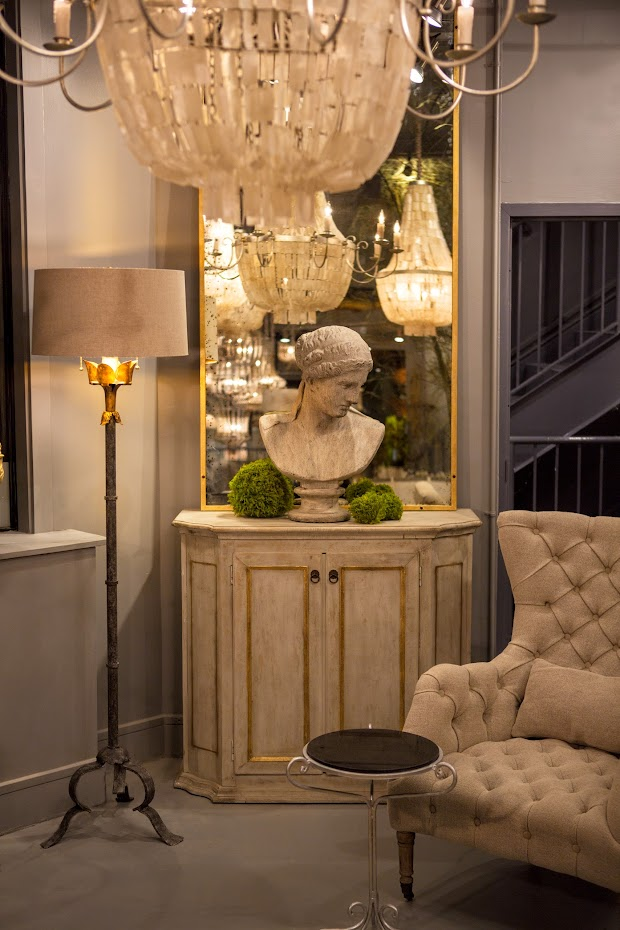 Aidan Gray floor lamp and chandeliers in a French Country room with tufted chair and bust on console. #aidangray #floorlamp