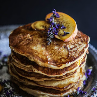 Peach & Bacon Pancakes with Lavender Butter Syrup Recipe