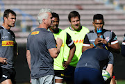 The DHL Stormers Super Rugby head coach Robbie Fleck with his players at a training session at Newlands in Cape Town on May 16 2019.