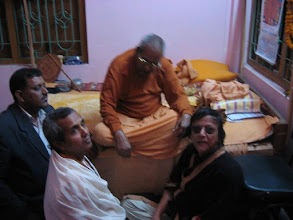 "Photo: Swami Sri Ramanandaji Maharaj, Head of Bharat Sevashram Sangha on Rashbehari Avenue, Kolkata and a direct associate of Swami SriSri Pranavanandaji Maharaj, in ""Sadhu Nibas"", 3rd Floor at Bajitpur Pranav Math on February 5, 2009 (the before Maghi Purnima 1415) - with Sri Mrinalbandhu Brahmachari"