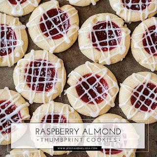 Raspberry Almond Thumbprint Cookies.