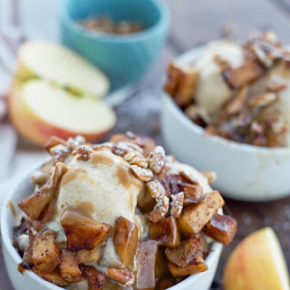 Caramel Apple Cider Ice Cream with Caramelized Apples