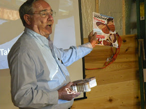 Photo: Bob is showing his butterfly box he made