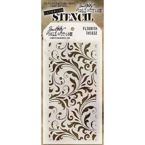 Tim Holtz Layered Stencil 4.125X8.5 - Flourish