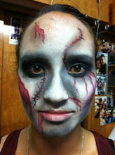 Photo: Zombie face paint by Tess for Halloween, Rancho Cucamonga, Ca. Call to Book Tess at 888-750-7024
