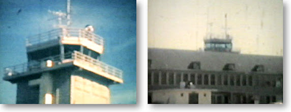 """Photo: Submitted by AC2 Jim Kemple, '56-58, here are a couple of frames from an 8mm home movie of Chase's original Control tower was that stationed atop what is now the VT24 hangar, before there was a Operations building. Jim also added, the base call sign was """"Beehive"""" and the TV-2's were """"Boxer and """"Bulldog"""" and the F9's were """"Bobcat"""" call signs."""