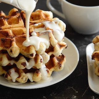 Cinnamon Roll Waffles.