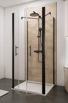 Portes de douche battantes en U avec 2 parois latérales fixes, style industriel, profilé noir