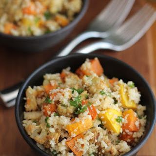 Whole Wheat Couscous with Roasted Vegetables.
