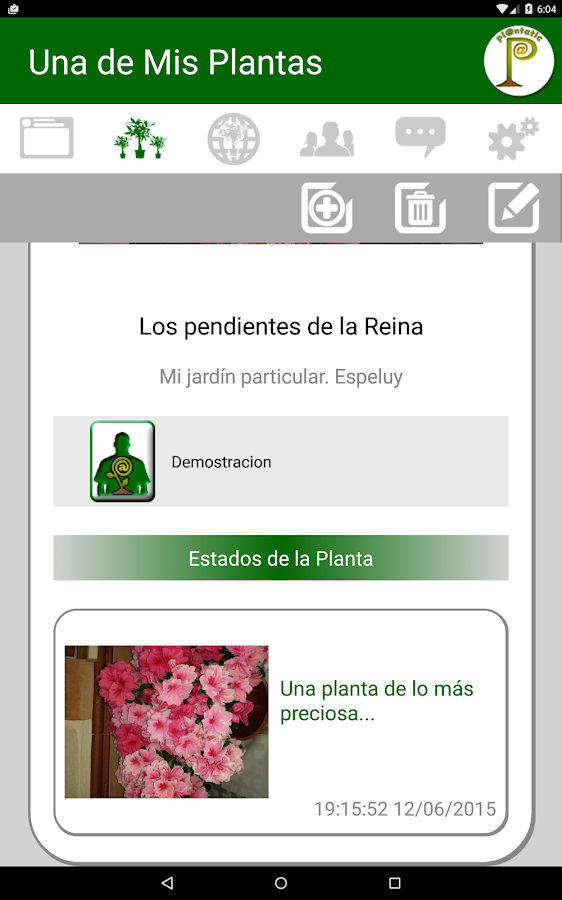 Plantatic: captura de pantalla