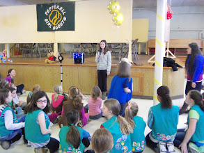 Photo: Kylee speaking to the Pepperell Girl Scouts on March 9, 2013.