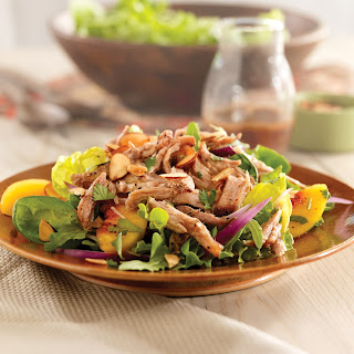 Pulled Pork Salad with Peaches and Cilantro.