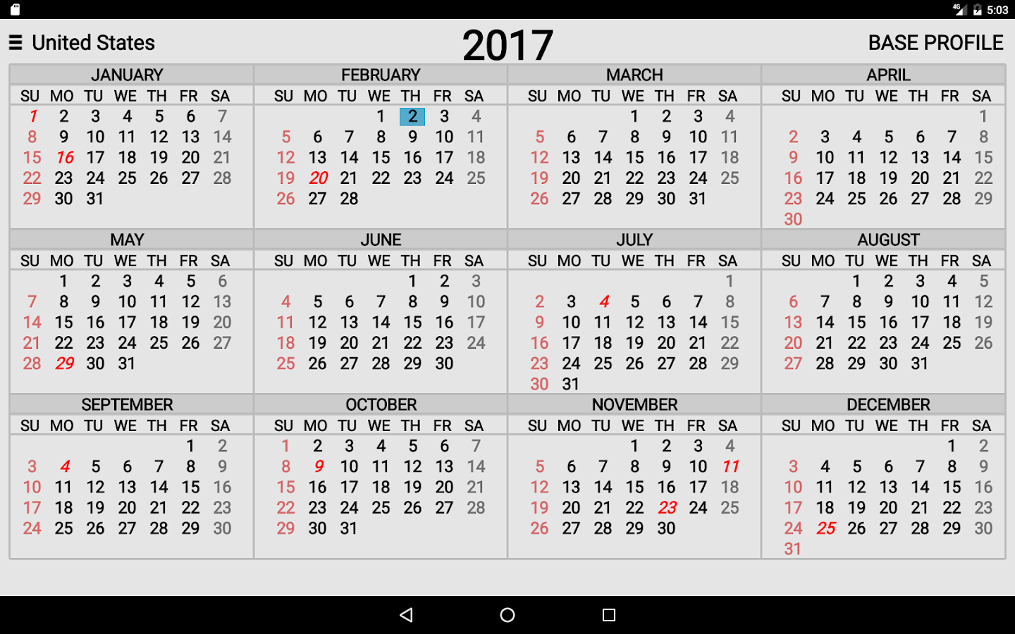 Year Calendar Google : Year at a glance android apps on google play