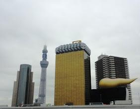Photo: 2011年11月18日 にょきにょき&にゆるり  浅草・吾妻橋から スカイツリーのてっぺんは雲の中