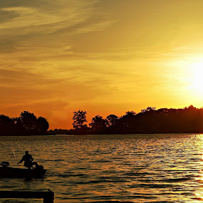 Sunset at Indian Lake by Candy Albright - Landscapes Sunsets & Sunrises ( water, sunset, indian lake, fishing )