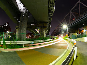Photo: ■Today's Elevated Expressways This photo is taken by +Takahiro Yanai ! I stood between Tokyo Metropolitan Expressway Central Circular Route (首都高速中央環状線) for east area and west ... :D 今日の高架道路をご紹介します。 なにやら寂しいカーブがあったので、撮ってみました。 +Elevated Expressways  #elevatedexpressways   #architecture #fisheye     #tokyonight      #tokyo