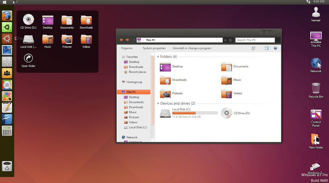 mang giao diện ubuntu cho windows