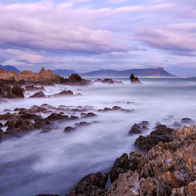 Wonderland by Juan Wernecke - Landscapes Waterscapes ( exposure, kleinmond, juan wernecke, wonderland, south africa, stone, rock, ocean, landscape, dark, photographer, pink, light, western cape, indian ocean, water, clouds, orange, sea, cloudscape, seascape, photo, cape town, blue, sunset, sunrise )