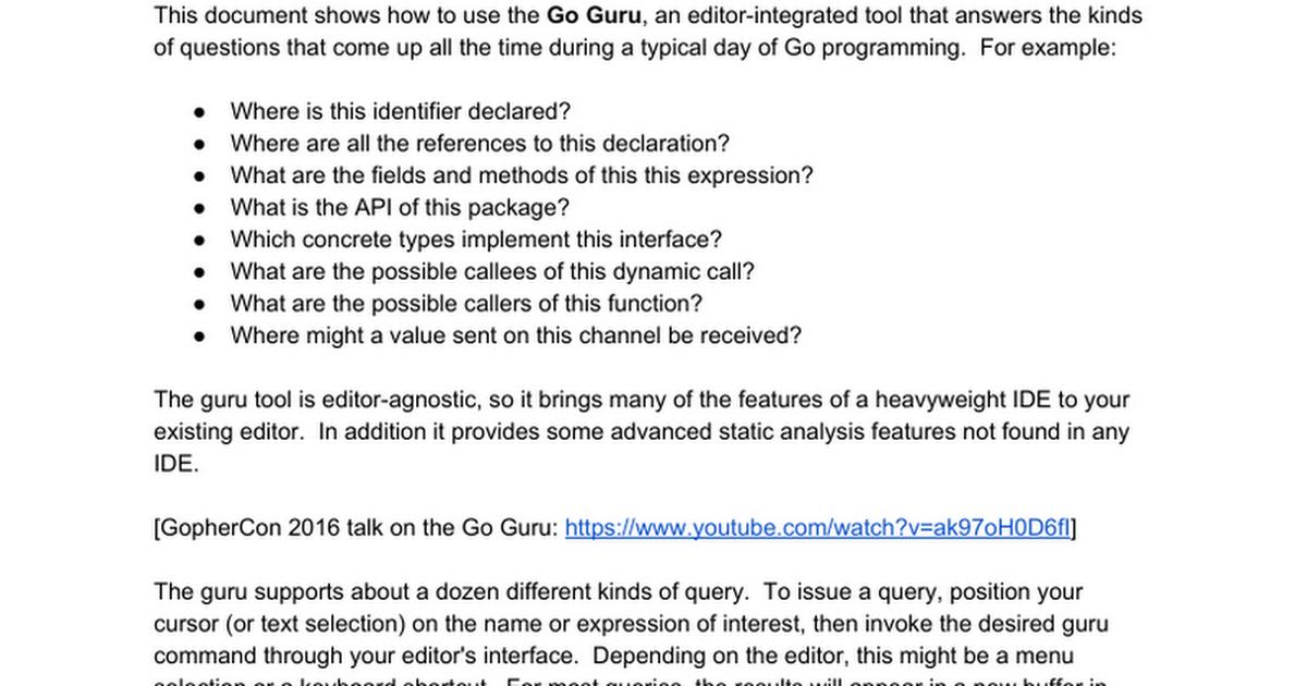 Using Go Guru Google Docs