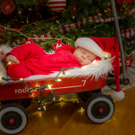 Look What Santa Left by Chris Cavallo - Public Holidays Christmas ( red, white, wagon, christmas tree, baby, hat, christmas lights, newborn, christmas, boy, lights, santa,  )