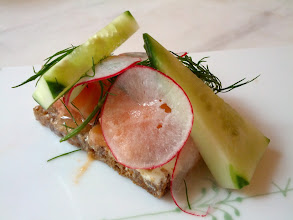 "Photo: This is a ""smushi"", which is a ""traditional danish open faced sandwich meets sushi""."