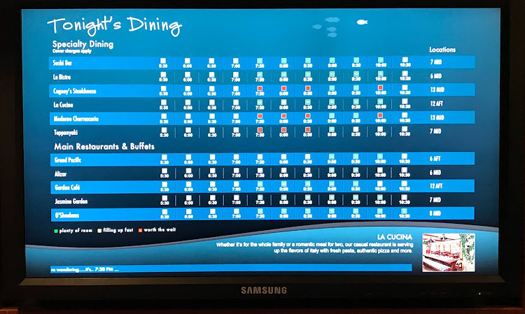 A digital display shows availability at the free and specialty dining rooms.